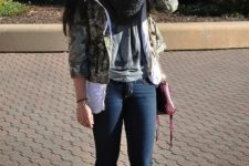 With jeans, oversized scarf and jacket