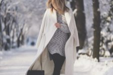 With knitted dress and black boots