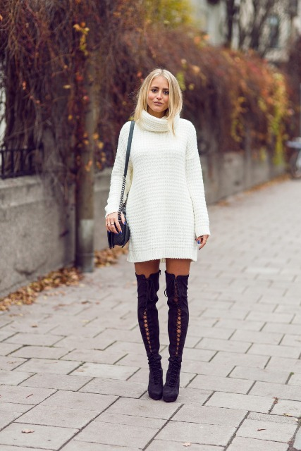 With knitted dress and chain strap bag