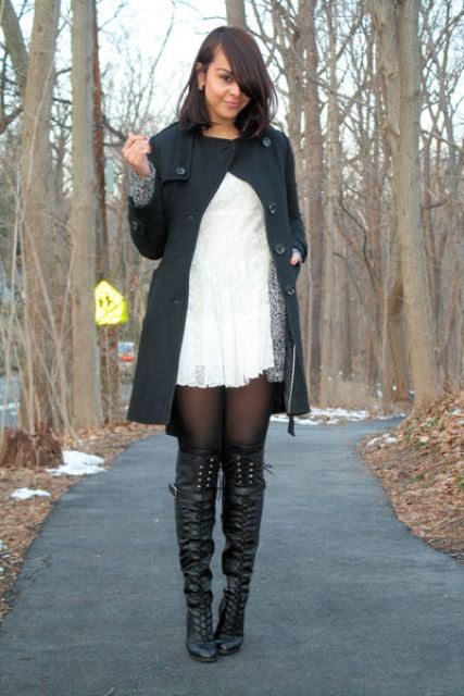 With lace dress and dark gray coat
