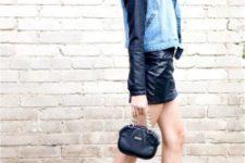 With leather mini skirt, denim jacket and mini bag