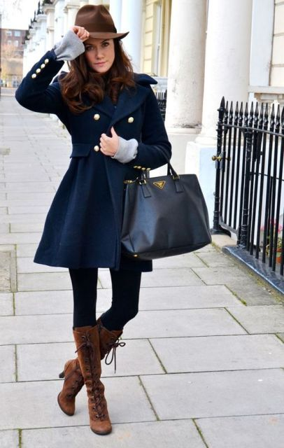 With leggings, lace up boots and hat