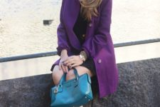 With little black dress, heels and small colored bag