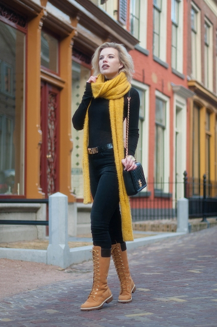 With long scarf, black turtleneck and jeans