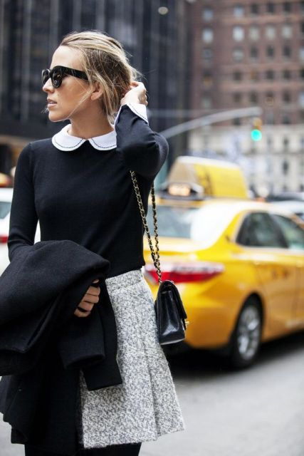 With long sleeved shirt with Peter Pan collar and chain strap bag