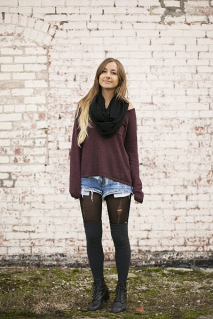 With loose shirt, black scarf, denim shorts and black tights