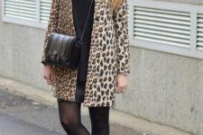 With loose shirt, mini skirt and crossbody bag