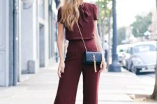 With marsala blouse and chain strap bag