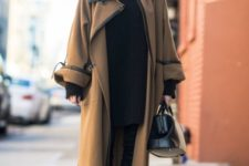 With midi coat and oversized sweater