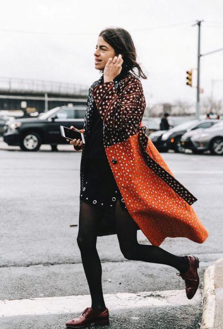 With mini black dress, black tights and marsala flat boots