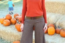 With orange shirt and culottes