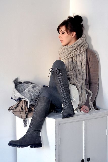 With oversized scarf, cardigan and gray leggings