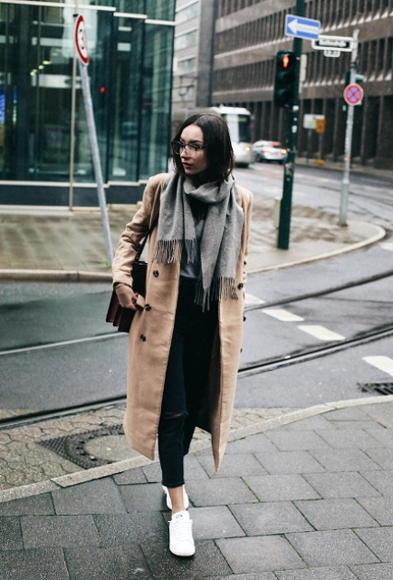 With oversized scarf, crop pants and white sneakers