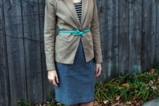 With pencil skirt, striped shirt and pumps