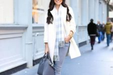 With plaid scarf, gray skinnies and shoes