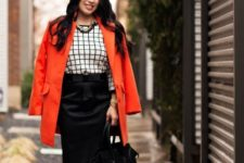 With printed blouse, black pencil skirt and two color shoes