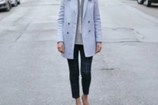 With printed crop pants and flats