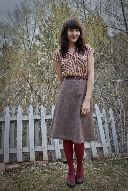 With printed shirt and marsala tights