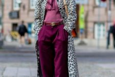 With purple blouse, cuffed pants and golden shoes
