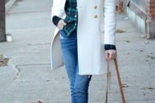 With red beanie, plaid shirt and brown crossbody bag