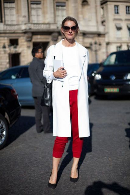 With red crop pants and white shirt