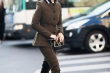 With same color tweed jacket and classic pumps