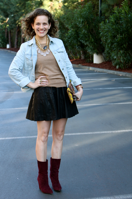 With skater skirt and denim jacket