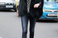With skinny jeans, animal printed scarf and fur jacket