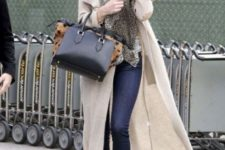 With skinny jeans, long cardigan and leopard scarf