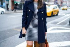 With striped dress and brown over the knee boots
