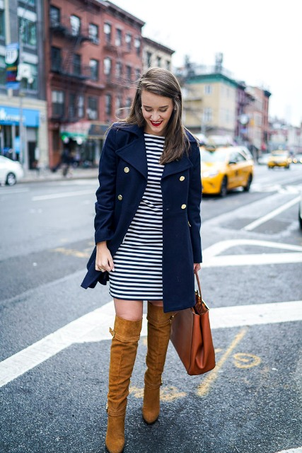 With striped dress, over the knee brown boots and leather bag