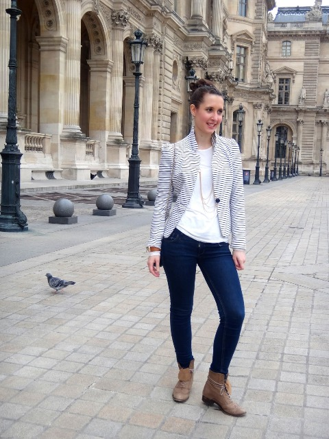 With striped jacket and skinny jeans