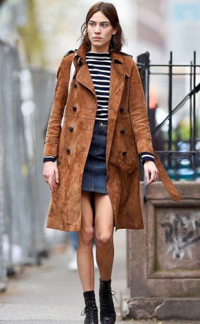 Jean skirt with brown boots – Fashionable skirts 2017 photo blog