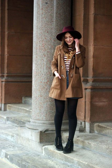 With striped shirt, mini skirt, black tights and marsala hat