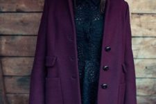 With stylish mini dark color dress