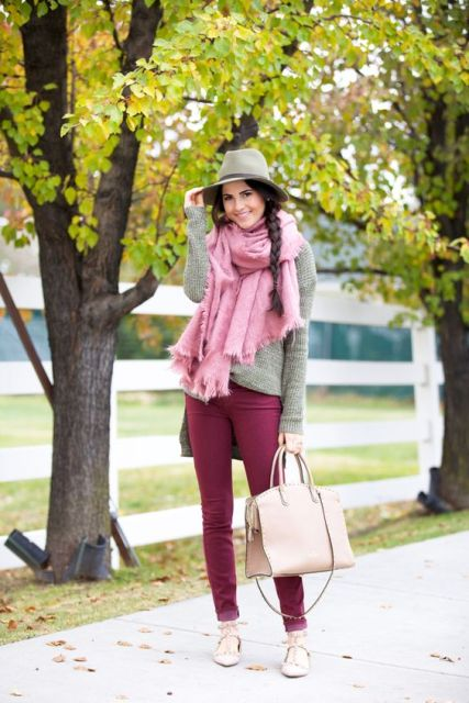 With sweater, oversized pink scarf and neutral shoes