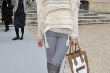 With two color bag and cozy white sweater