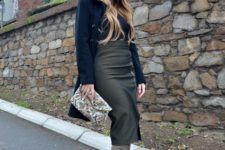 With velvet jacket, midi skirt and printed clutch