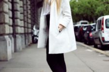 With white blouse, black mini skirt, black tights and heels