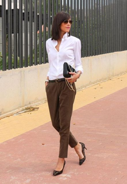 With white classic shirt, belt and heels