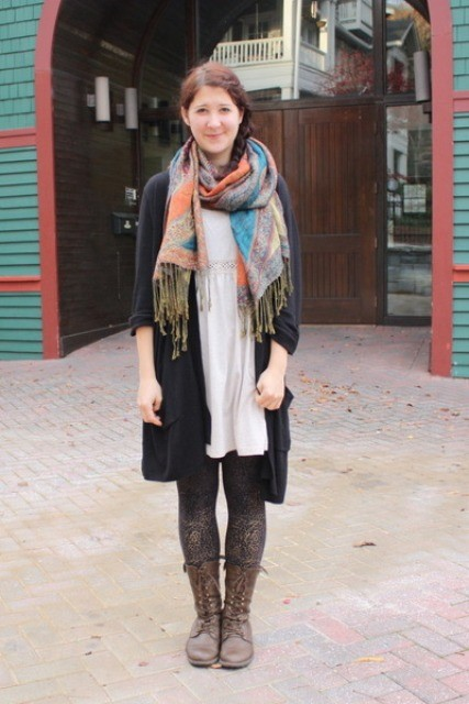 With white dress, long cardigan and colorful scarf