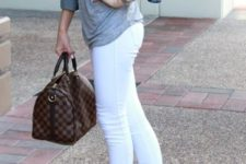 With white jeans, denim jacket and gray t-shirt