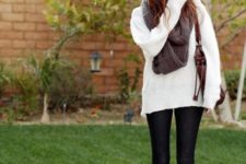 With white sweater and skinnies