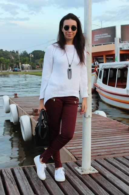 With white sweater and sneakers