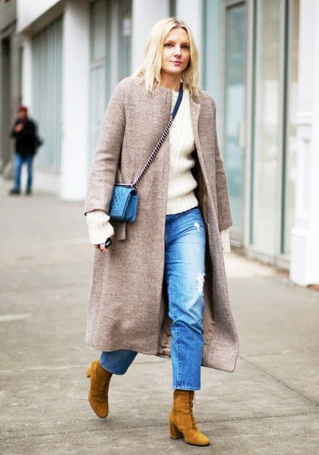 With white sweater, straight jeans and midi coat