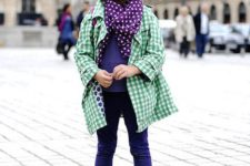 colorful outfit with blush boots, purple pants, a polka dot scarf and a green plaid coat