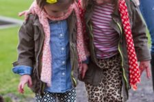 girls in rain boots, printed pants, shirts and jackets