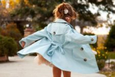 pastel look with a serenity raincoat and pink rain boots