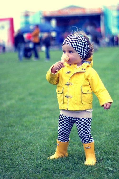 sunny yellow rainboots and coat, checked pants and headband