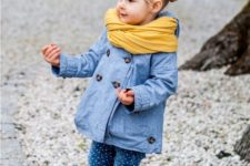 yellow boots, polka dot jeans, a denim coat and a yellow scarf